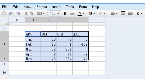 excel spreadsheet in Google Doc