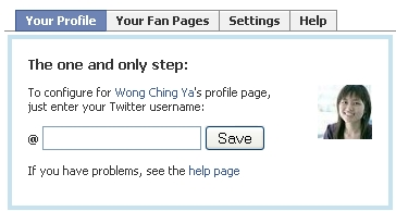 configure Facebook profile to receive Twitter updates